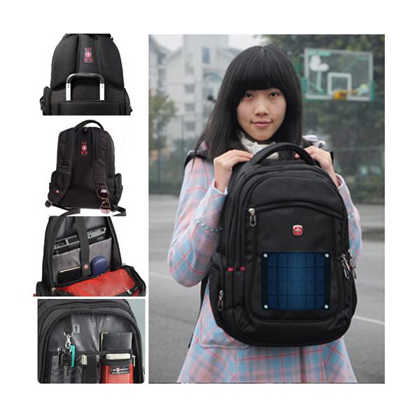 2.8watt solar swissgear backpack, outdoor solar travel backpack with 2.6Ah power bank