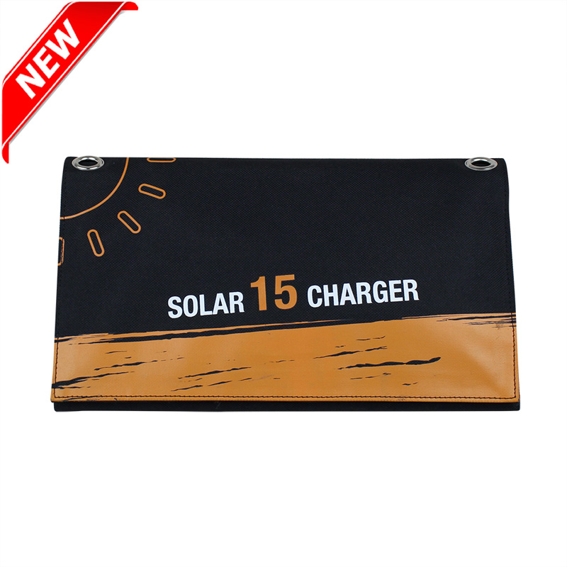 Eco Miracle New design 15watt SUNPOWER solar foldable bag charger with dual USB output port EM-015S