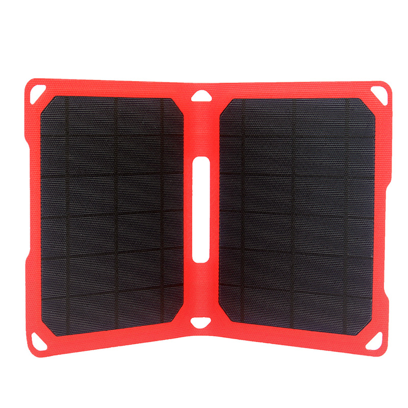 10watt foldable ETFE solar portable charger with 5V dual USB voltage controller EM-010E