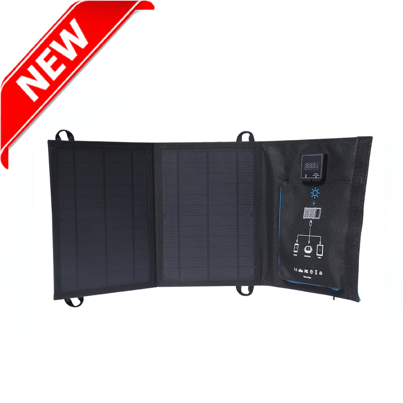12watt solar charger bag with digital display dual usb port EM-012