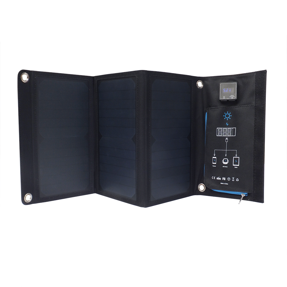 Digital display dauble USB port sunpower solar foldable charger EM-021D