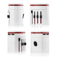 Universal travel adaptor charger with white color , easy to printing logo on it